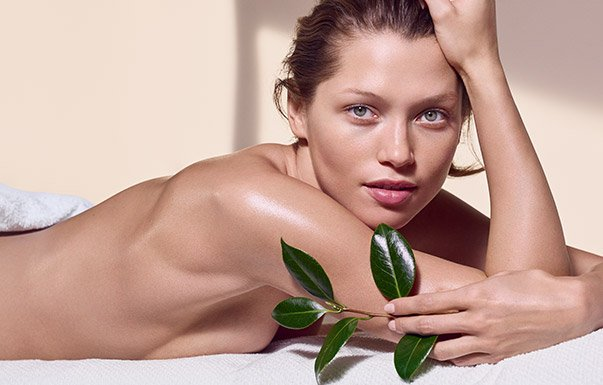 Woman in towel after a massage