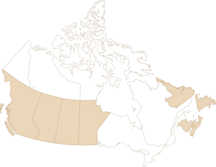 Carte des provinces de l'ouest et de l'Atlantique